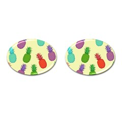 Colorful Pineapples Wallpaper Background Cufflinks (oval) by Simbadda