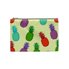 Colorful Pineapples Wallpaper Background Cosmetic Bag (medium)  by Simbadda