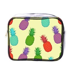 Colorful Pineapples Wallpaper Background Mini Toiletries Bags by Simbadda