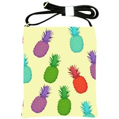 Colorful Pineapples Wallpaper Background Shoulder Sling Bags by Simbadda