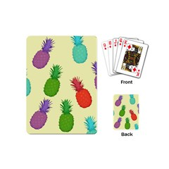 Colorful Pineapples Wallpaper Background Playing Cards (mini)  by Simbadda