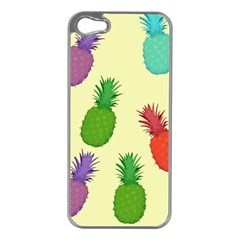 Colorful Pineapples Wallpaper Background Apple Iphone 5 Case (silver)
