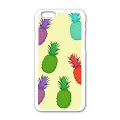 Colorful Pineapples Wallpaper Background Apple Iphone 6/6s White Enamel Case
