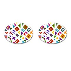 A Colorful Modern Illustration For Lovers Cufflinks (oval) by Simbadda
