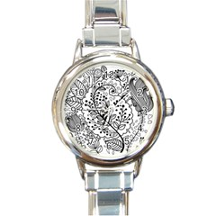 Black Abstract Floral Background Round Italian Charm Watch by Simbadda