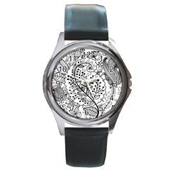 Black Abstract Floral Background Round Metal Watch