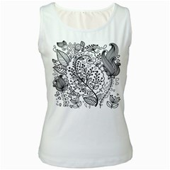 Black Abstract Floral Background Women s White Tank Top