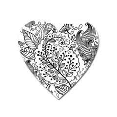 Black Abstract Floral Background Heart Magnet by Simbadda