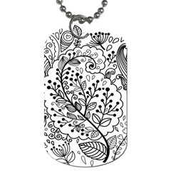 Black Abstract Floral Background Dog Tag (one Side)