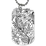 Black Abstract Floral Background Dog Tag (One Side) Front