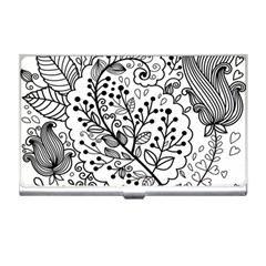 Black Abstract Floral Background Business Card Holders by Simbadda