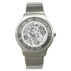 Black Abstract Floral Background Stainless Steel Watch by Simbadda
