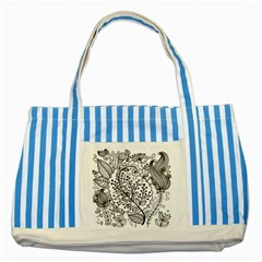 Black Abstract Floral Background Striped Blue Tote Bag by Simbadda