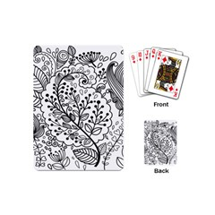 Black Abstract Floral Background Playing Cards (mini)  by Simbadda