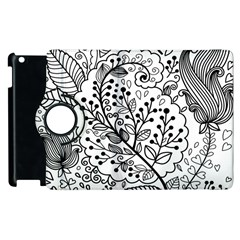 Black Abstract Floral Background Apple Ipad 3/4 Flip 360 Case by Simbadda