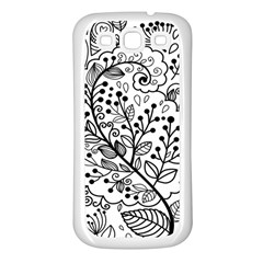 Black Abstract Floral Background Samsung Galaxy S3 Back Case (white)