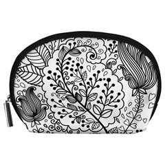 Black Abstract Floral Background Accessory Pouches (large)