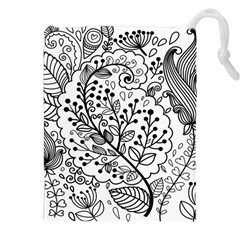 Black Abstract Floral Background Drawstring Pouches (xxl)