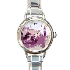 Abstract Painting Edinburgh Capital Of Scotland Round Italian Charm Watch by Simbadda