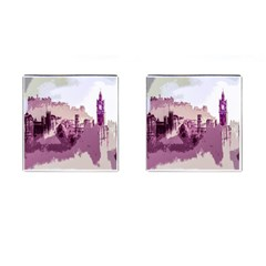 Abstract Painting Edinburgh Capital Of Scotland Cufflinks (square) by Simbadda