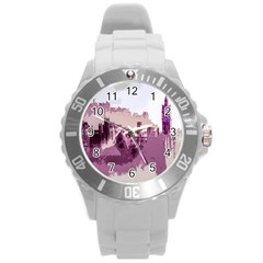 Abstract Painting Edinburgh Capital Of Scotland Round Plastic Sport Watch (l) by Simbadda