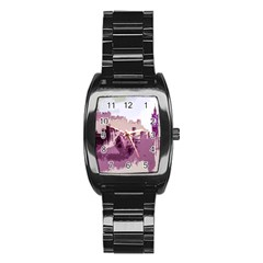 Abstract Painting Edinburgh Capital Of Scotland Stainless Steel Barrel Watch