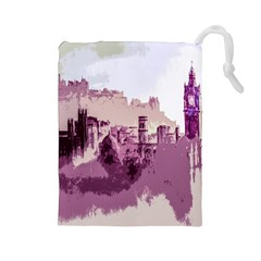 Abstract Painting Edinburgh Capital Of Scotland Drawstring Pouches (large)