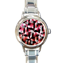 Red And Pink Abstract Background Round Italian Charm Watch by Simbadda