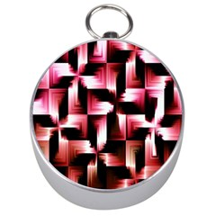 Red And Pink Abstract Background Silver Compasses by Simbadda