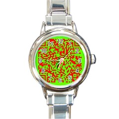 Colorful Qr Code Digital Computer Graphic Round Italian Charm Watch by Simbadda