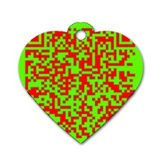 Colorful Qr Code Digital Computer Graphic Dog Tag Heart (two Sides) by Simbadda