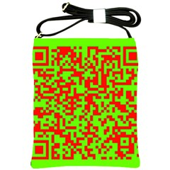 Colorful Qr Code Digital Computer Graphic Shoulder Sling Bags by Simbadda