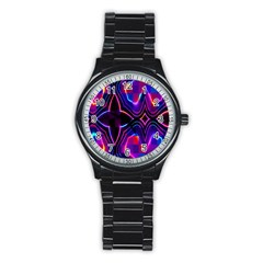 Rainbow Abstract Background Pattern Stainless Steel Round Watch