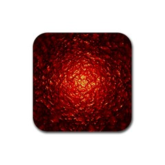 Abstract Red Lava Effect Rubber Square Coaster (4 Pack)  by Simbadda