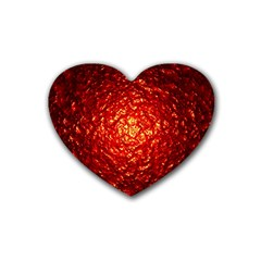 Abstract Red Lava Effect Rubber Coaster (heart)  by Simbadda