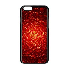 Abstract Red Lava Effect Apple Iphone 6/6s Black Enamel Case