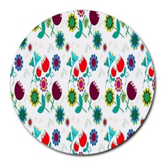 Lindas Flores Colorful Flower Pattern Round Mousepads