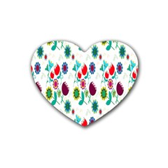 Lindas Flores Colorful Flower Pattern Rubber Coaster (heart)  by Simbadda