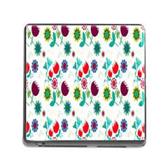 Lindas Flores Colorful Flower Pattern Memory Card Reader (square) by Simbadda