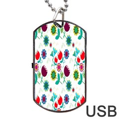 Lindas Flores Colorful Flower Pattern Dog Tag Usb Flash (one Side) by Simbadda