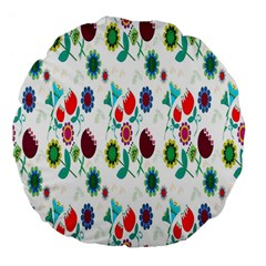 Lindas Flores Colorful Flower Pattern Large 18  Premium Flano Round Cushions