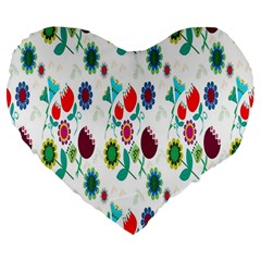 Lindas Flores Colorful Flower Pattern Large 19  Premium Flano Heart Shape Cushions by Simbadda