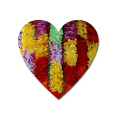 Colorful Hawaiian Lei Flowers Heart Magnet by Simbadda