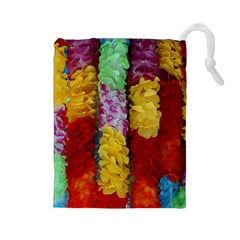 Colorful Hawaiian Lei Flowers Drawstring Pouches (large)  by Simbadda