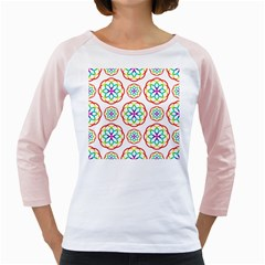 Geometric Circles Seamless Rainbow Colors Geometric Circles Seamless Pattern On White Background Girly Raglans