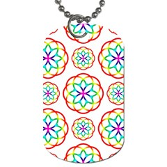 Geometric Circles Seamless Rainbow Colors Geometric Circles Seamless Pattern On White Background Dog Tag (two Sides)