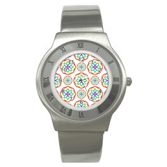 Geometric Circles Seamless Rainbow Colors Geometric Circles Seamless Pattern On White Background Stainless Steel Watch