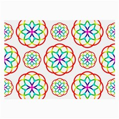 Geometric Circles Seamless Rainbow Colors Geometric Circles Seamless Pattern On White Background Large Glasses Cloth (2 Side) by Simbadda