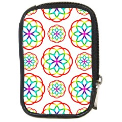 Geometric Circles Seamless Rainbow Colors Geometric Circles Seamless Pattern On White Background Compact Camera Cases by Simbadda