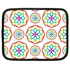 Geometric Circles Seamless Rainbow Colors Geometric Circles Seamless Pattern On White Background Netbook Case (xxl)  by Simbadda